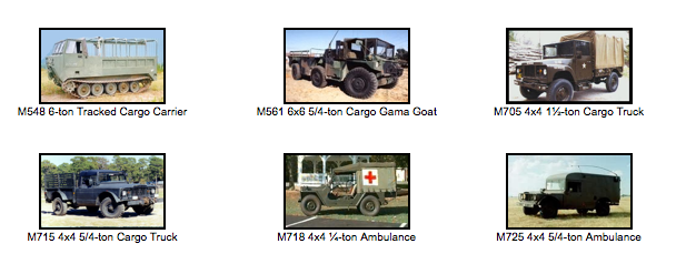Transport & Support Vehicles M1-M799